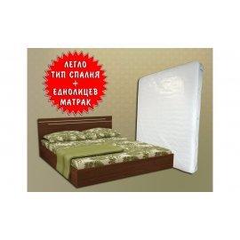 БЕЗПЛАТНА ДОСТАВКА!!!Легло Тип Спалня + Подарък! Еднолицев Матрак 164/190