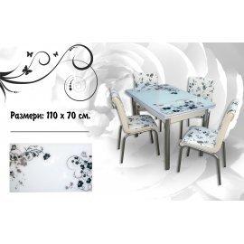 БЕЗПЛАТНА ДОСТАВКА!!!Трапезен комплект - маса + 4 стола Цветя